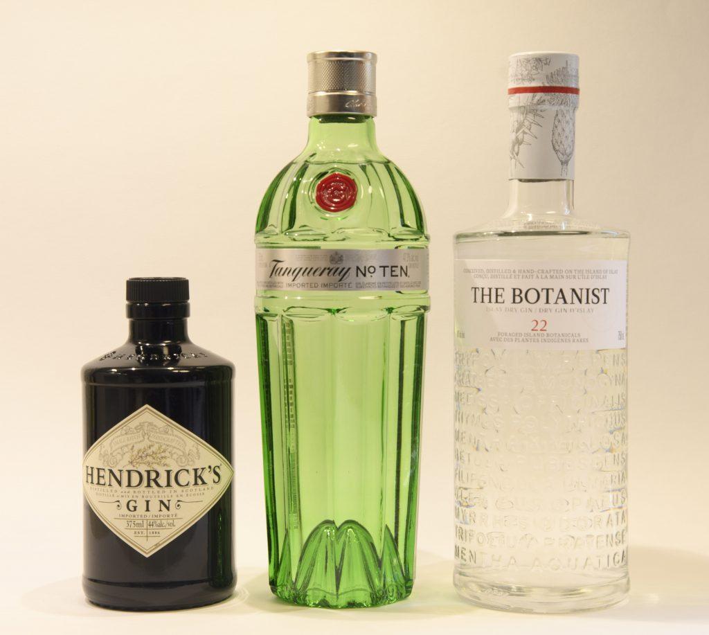 British gin - Hendrick's, Tanqueray 10, The Botanist