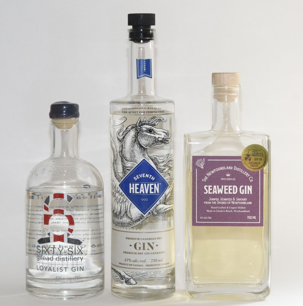 Gin Challenge: craft gins from Ontario, Quebec and Newfoundland.
